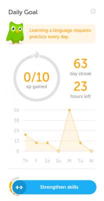 Med Duolingo kan du opsætte et dagligt mål.